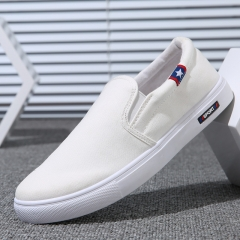 2018 New Casual Men Shoes Moccasin Shoes Slip on Designer Male Flats Canvas Shoes white 39