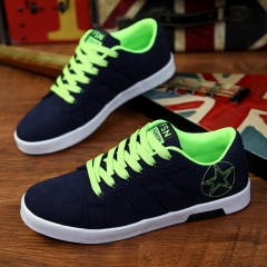 Fashion Breathable Men's Casual Walking Shoes Canvas Sneakers black&green 39