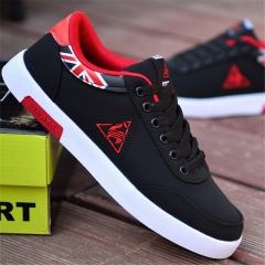 2018 Men's Casual Breathable Shoes Mesh Flats Low Laces Fashion Sports Skate Shoes black&red 40
