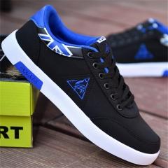 2018 Men's Casual Breathable Shoes Mesh Flats Low Laces Fashion Sports Skate Shoes black&blue 39