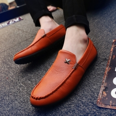 2018 Men Casual PU Leather Loafers Breathable Driving Moccasins Slip on Men Loafers Walking Shoes yellow 40