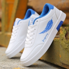 Men's PU Leather Casual Breathable Shoes Mesh Flats Low Laces Fashion Sneakers Sports Skate Shoes blue&white 40