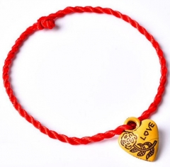 Hot Women Girls Chinese Knot Heart Leaf Rope Chain Lucky Charm Decent Red Rope Jewelry Gift red normal