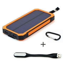 Portable 15000mAh Power Bank Solar External Battery +mini LED read light orange 15000