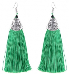 2018 Tassel Earrings metal Fish mouth Danging Earrings For Wedding Long Hanging fringe Earrings green length 10.5