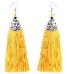 2018 Tassel Earrings metal Fish mouth Danging Earrings For Wedding Long Hanging fringe Earrings yellow length 10.5