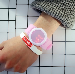 Korean concise male and female table Han version student personality led touch luminous couple Watch pink normal