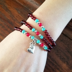 Fashion lady's multistory Crystal Bracelet red and silver normal