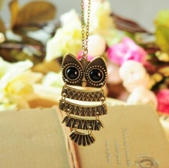 Exquisite long lifelike, lovely old owl necklace bronze normal