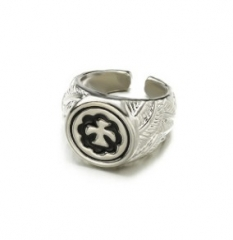 Pigeon ring with carved flower from man and lady sliver normal