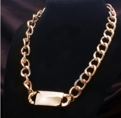length 1.5cm Euro and USA  fashion big brand hyperbole Chain Pendant Necklace character sweater gold 30cm