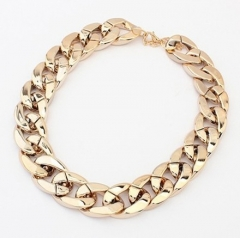 length 1.9CM necklace, nightclub, trend, punk, gold plated necklace, double grind aluminum chain gold 95cm