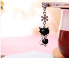 Water drill, cat eye stone, diamond pendant, cell phone dust plug black cat normal
