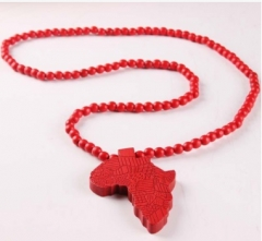 Africa Map wooden necklace hip-hop HIPA map wooden pendant jewelry long red normal