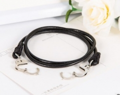 New multi layer leather chain bracelet, men's leather bracelet, Europe and America black normal