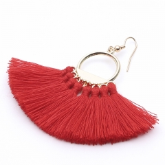 Bohemian Handmade Tassel Earrings Vintage Round Drop Earrings Wedding Party Bridal Fringed Gift red Length 7cm