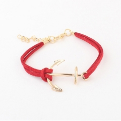 new Ship anchor velvet rope simple and generous lovers bracelet SAILOR personality  gifts red length 19cm-23cm