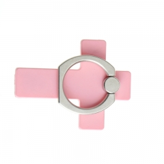 Cross180 Degree Finger Ring Mobile Phone Grip Stand Watch TV Film Phone Stand Holder For smartphones pink normal