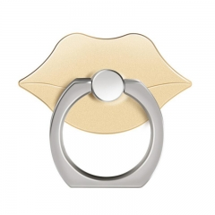 Reusable Sexy Lips Mouth Finger Ring Smartphone Stand Holder Mobile Phone For iPhone iPad All Phone gold normal