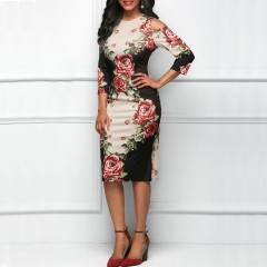 Print tight, shoulders hollow, round collar and long skirt. m picture color