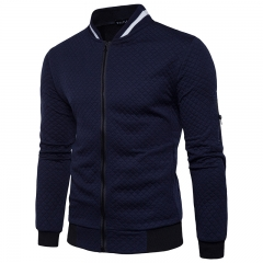 Men, diamond embossing, zipper collar, casual long sleeved dark blue m
