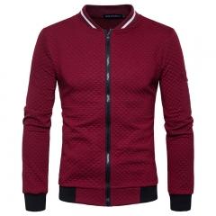 Men, diamond embossing, zipper collar, casual long sleeved Wine red m