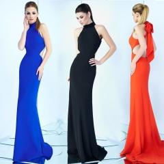 New high-end evening dress, sexy split dress dress. xl orange