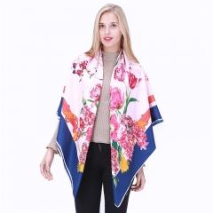 Silk Lady Fashion Scarf 130cm large scarf fringed Shawl Scarf Deep blue and safflower