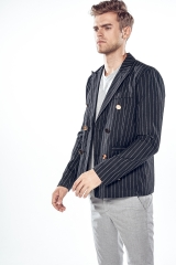 New vertical striped body with two sides of gold, double breasted, men's leisure collar suit. black m
