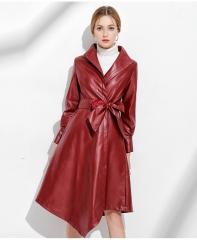 Irregular skirt, waist bandage, PU coat jacket red xxl