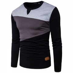 Features small color touch label decorated men's casual round neck long sleeved T-shirt Black sleeves xl cotton