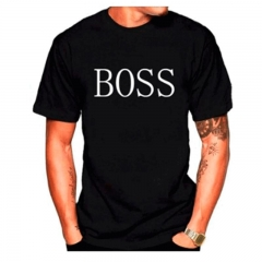 New style European and American wind BOSS printed round neck loose short sleeved men's T-shirt black m cotton blend