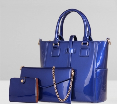 C.X European fashion handbag leather tote bag tide woman bag blue one size
