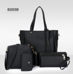 C.XThe new four piece set fashion bags handbag simple all-match bangalor brown one size black one size