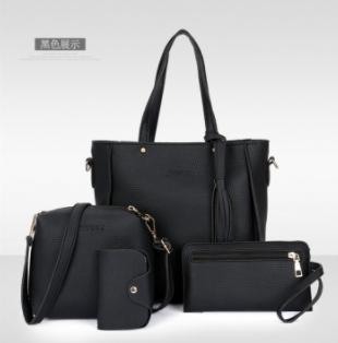 C.XThe new four piece set fashion bags handbag simple all-match bangalor brown one size black one size