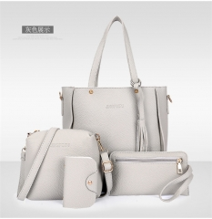 C.XThe new four piece set fashion bags handbag simple all-match bangalor brown one size light grey one size