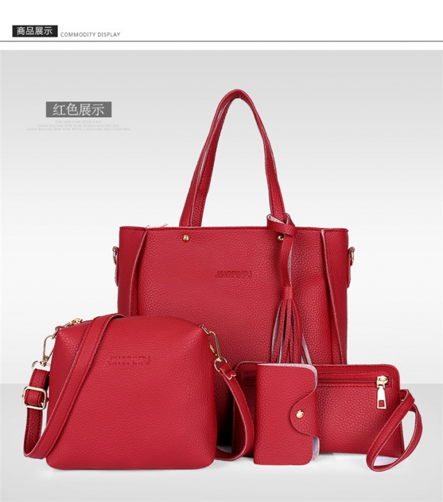 C.XThe new four piece set fashion bags handbag simple all-match bangalor brown one size gules one size