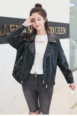 thin leather female brief paragraph coat 2018  Europe  States students loose leather jacket black L