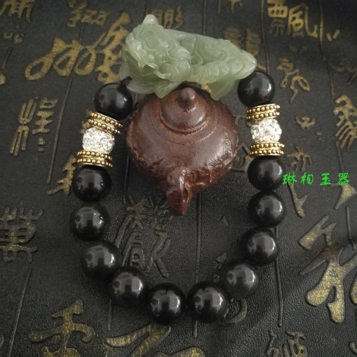 Obsidian,protect peace, ward off evil spirits, hand strings, jewelry,  noble, personality, wealth obsidian 12mm