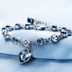 Swarovski crystal bracelet, send girlfriend blue 17cm+5.5cm