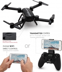 Drone WIFI folding aerial vehicle fixed height remote control aircraft model four-axis helicopter black One model