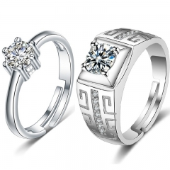 Couples Rings 925 Silver Wedding Rings Zircon Men and Women's Rings silver 2PCS/Set