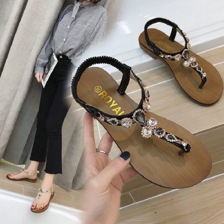 241bb7ea5a0ef2 2018 Bohemia Flat Sandals Women s Summer Rhinestone Roman Shoes Elastic  Soft Bottom Beach Sandals black 36