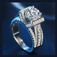 Fashion Jewelry Zircon Ring Woman's Creative Love Diamond Ring Exquisite Wedding Ring silver 9