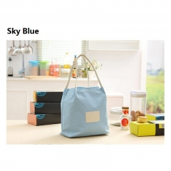 Home Portable Thermal Insulated Lunch Container Cooler Bag Picnic Carry Totes Pouch Lunch Box Bag sky blue 26cm*26cm*16cm