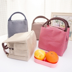 Fashion Stripe pattern Portable Thermal Insulated Lunch Container Picnic Carry Totes Pouch brown 23cm*15cm*17cm