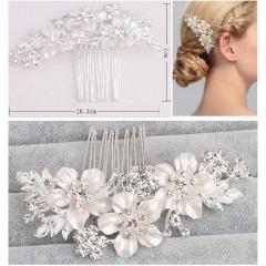 Wedding Party Headwear Hair Clip Bridal Headdress Flowers Rhinestone Crystal Silver Hair Pin