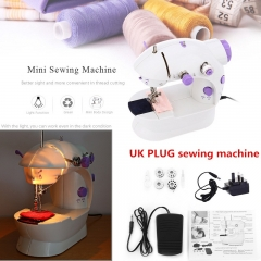 Mini Handheld Sewing Machines Dual Speed Double Thread UK Plug Electric Automatic Sewing Machine white