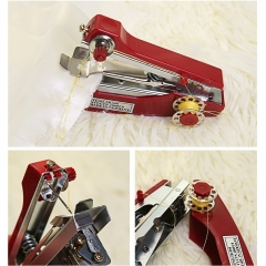 Mini Needlework Tool Portable Cordless Hand-Held Clothes Sewing Machines Household Sewing Machines red