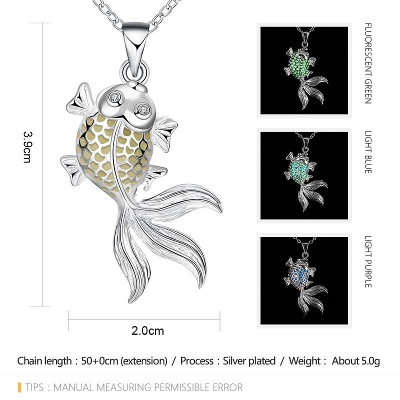 0ea79087ef286 Fashion Fluorescent Necklace Goldfish Shape Hollow Luminous Necklace  Women's Jewelry Pendant Chain fluorescent green one size